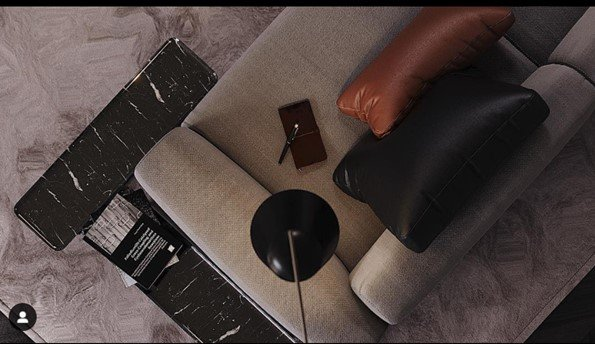 Fabric sofa, leather pillows and rug